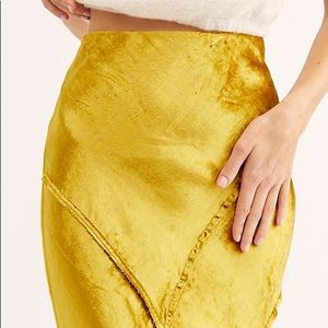 Free People Solid Serious Swagger Velvet Skirt